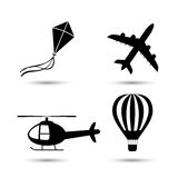Airplane, helicopter, air balloon  and kite vector Royalty Free Stock Image