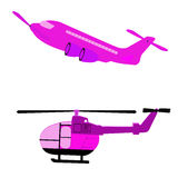 Airplane and helicopter. Transportation design element on helicopter, airway transfer aircraft helicopter, flying, tours, for design, vector illustration Royalty Free Stock Photos
