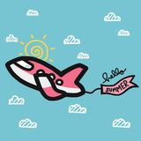 Airplane and hello summer flag cartoon vector illustration. Cute Pink airplane and hello summer flag cartoon vector illustration doodle style royalty free illustration