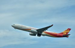 Airplane of Hongkong Airlines plane is departuring Stock Images