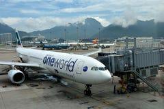 Airplane in Hongkong Airport Royalty Free Stock Photos