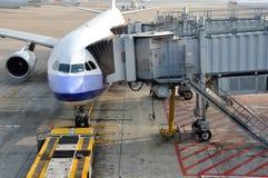 Airplane in Hongkong Airport working yard Royalty Free Stock Image
