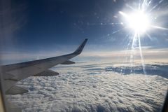 Airplane horizon. In the sky Stock Photography