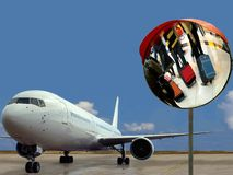Airplane  & hurry-up passengers at airport. Hurry-up passengers with colorful suitcases are reflected on the mirror, close-up and in front of the airplane on Stock Images