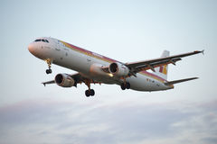 Airplane, Iberia in Barcelona Royalty Free Stock Photo