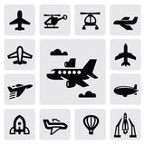 Airplane icon. Vector black airplane icon set on gray vector illustration