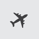Airplane icon in a flat design in black color. Vector illustration eps10 vector illustration