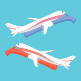 Airplane Icon Flat Minimal with Arrow Royalty Free Stock Image