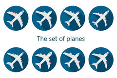 Airplane icon with long shadow Stock Photography