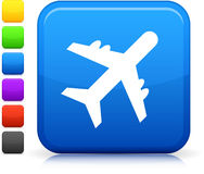 Airplane icon on square internet button Stock Photos