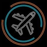 Airplane icon - travel icon - fly. Flight symbol - vector plane. Thin line pictogram - outline stroke vector illustration