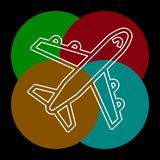 Airplane icon - travel icon - fly. Flight symbol - vector plane. Thin line pictogram - outline editable stroke royalty free illustration