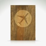 Airplane icon on wood texture. Vector illustration Stock Images