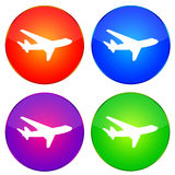 Airplane icons. Colorful and bright airplane web buttons vector illustration