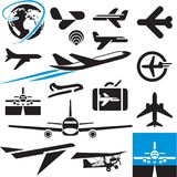 Airplane icons. Airport symbols. Plane. Royalty Free Stock Image