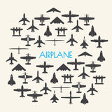 Airplane icons set  Background Royalty Free Stock Photography