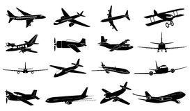 Airplane icons set. In black vector illustration