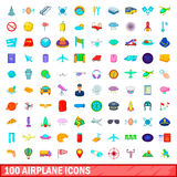 100 airplane icons set, cartoon style. 100 airplane icons set in cartoon style for any design vector illustration Stock Illustration