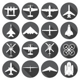 Airplane icons set Royalty Free Stock Images