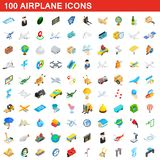 100 airplane icons set, isometric 3d style. 100 airplane icons set in isometric 3d style for any design illustration vector illustration