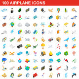 100 airplane icons set, isometric 3d style Royalty Free Stock Photos