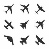 Airplane icons set: passenger plane, fighter plane and screw. Vector Illustration Royalty Free Stock Photos