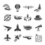 Airplane icons. Set of 16 airplane icons, transportation concept Royalty Free Stock Images