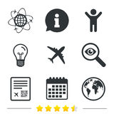 Airplane icons. World globe symbol. Stock Photo