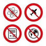 Airplane icons. World globe symbol Royalty Free Stock Photos