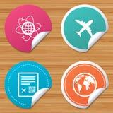 Airplane icons. World globe symbol. Stock Images