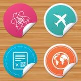 Airplane icons. World globe symbol. Royalty Free Stock Image