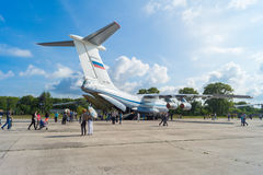 Airplane IL-76MD at the open day at the airport Migalovo Royalty Free Stock Image