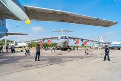 Airplane IL-76MD at the open day at the airport Migalovo Stock Images