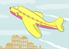 Airplane. Illustration of colorful airplane flying over the city. Vector vector illustration