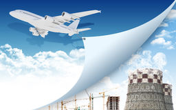 Airplane and industrial zone Royalty Free Stock Image