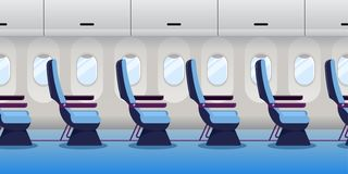 Free Airplane Inside. Empty Plane Interior, Seamless Horizontal Background. Vector Flat Cartoon Illustration Stock Images - 161463194