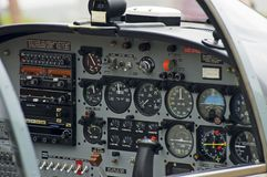 Airplane Instruments. A picture of the instrument panel inside of a small plane Royalty Free Stock Photography