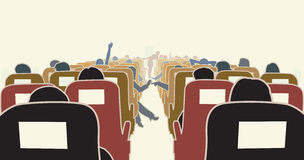 Airplane interior. Editable illustration of passengers in an airplane vector illustration