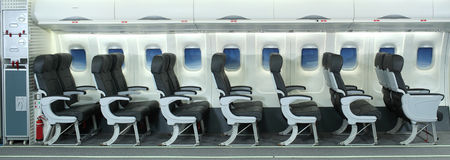 Airplane Interior. Side view of a airplane Interior royalty free stock photo