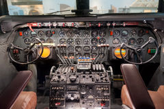 Airplane interior, cockpit view inside the airplane Stock Image