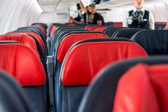 Airplane interior. Royalty Free Stock Photography