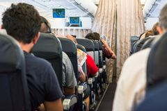 Airplane interior. Royalty Free Stock Images