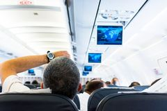Airplane interior. Royalty Free Stock Photo
