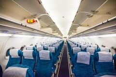 Airplane interior without passengers. Travel Royalty Free Stock Photography