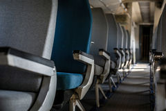 Airplane interior with seats Royalty Free Stock Photos