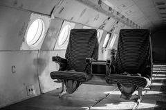 Airplane interior with seats Stock Photos