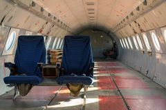 Airplane interior with seats Royalty Free Stock Images