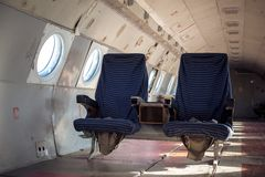Airplane interior with seats Stock Photography