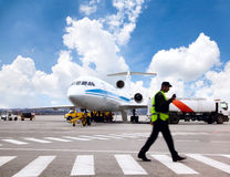 Airplane Is Being Serviced Royalty Free Stock Photography