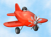 Airplane - isolated. 3D cartoon like old fashioned red airplane royalty free illustration